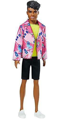 Barbie Ken 60 Aniversario Muñeco afroamericano con chaqueta rosa a la moda, regalo para niñas y niños +3 años (Mattel GRB44)
