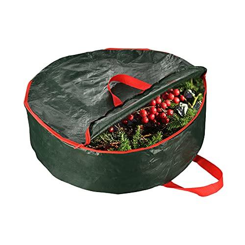 Bolsa de almacenamiento de corona de Navidad, 30 pulgadas con asa doble reforzada y cremallera elegante, ranura para tarjetas, protege tu corona de vacaciones del polvo, insectos y humedad, verde