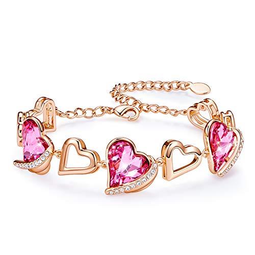 CDE Armband Frauen Geschenk fur Frauen Muttertagsgeschenk,Herz Armbänder für Damen 18 Karat Weißgold Besetzt mit Swarovski Steinen, Armbänder mit Geschenkbox