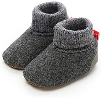 ENERCAKE Baby Boys Girls Cozy Fleece Booties with Grippers Stay On Infant Slippers Newborn Socks product image