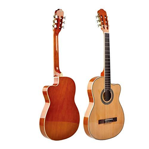 SUNXK 39 Pulgadas Caja Delgada clásica Recortada Guitarra Nylon Fina bañera Guitarra (Color : Wood Color N, Size : 39 Inches)