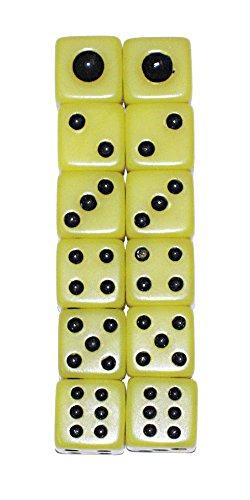 麻雀用品 サイコロ 12個 10mm 黄色