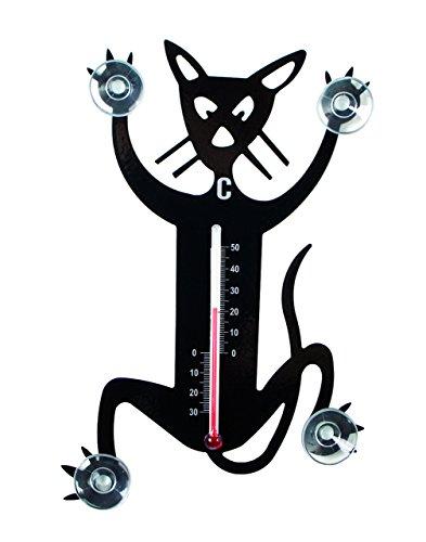 Pluto Produkter TE412 Thermometer KATZE Fensterthermometer innen & außen