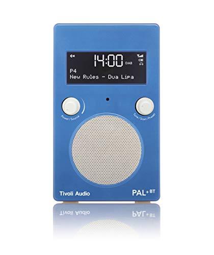 Tivoli Audio Pal+ BT tragbares Radio FM/DAB+/Bluetooth, inkl. Akkupack und Fernbedienung, blau/weiß