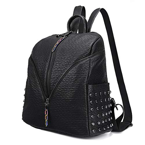 Ladies Rucksack Womens Backpack Anti-Theft Tote, JOSEKO Soft Genuine Leather Shoulder Handbag Casual Daypack Business Travel Fashion Bag with Rivet for Women Girls (Retro-Black)