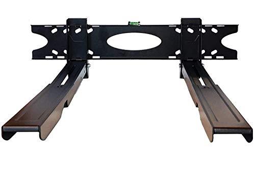 Mikrowellenhalterung Halterung für Mikrowelle Wandhalterung Universalhalterung mit Mini-Wasserwaage ausziehbar bis 48cm x 39cm Auflagefläche schwarz
