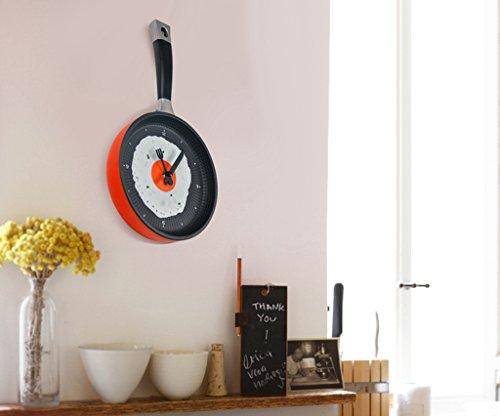 Moderna Sartén de Huevos Cubiertos Reloj de Pared Cocina única Decoración Color Rojo