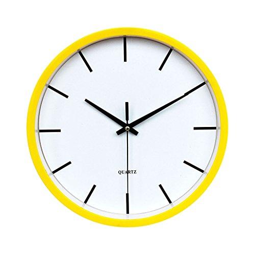 Baoblaze Redondo Reloj Silencioso de Cuarzo de Pared de Plástico Alimentado por Batería - Amarillo