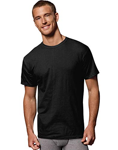 Hanes Mens FreshIQ ComfortSoft Dyed Black/Grey T-Shirt 5-Pack, L, Assorted