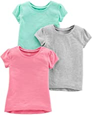 Simple Joys by Carter's Girls' 3-Pack Solid Short-Sleeve Tee Shirts, Grey/Mint Green/Pink, 4T