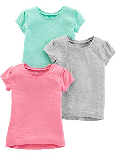 Simple Joys by Carter's Girls' Toddler 3-Pack Solid Short-Sleeve Tee Shirts, Gray/Mint/Pink, 3T