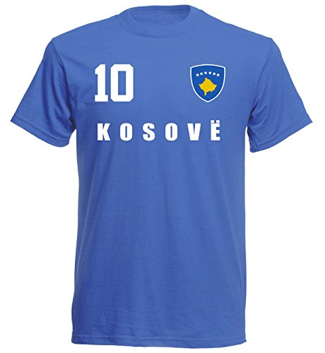 Kosovo WM 2018 T-Shirt Trikot Style - Blau ALL-10 - S M L XL XXL (S)
