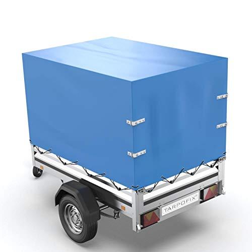 Tarpofix® Anhängerplane Hochplane mit Gummigurt 210x115x90cm - randverstärkte & robuste Stema Anhänger Plane (blau) - Langlebige Anhänger Abdeckplane - Ideal passend für viele 750 kg PKW Autoanhänger