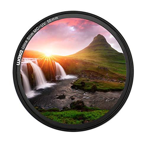 waka Pro UV-Filter MC 55mm, 3mm Ultra Slim 16 Schichten Multi-Beschichtung Objektiv UV Filter Ultraviolett Schutzfilter für Canon Nikon Sony DSLR Kamera Filter