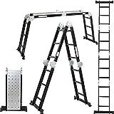 ALDORR Profesional 4x3 Escalera Plegable de Aluminio Multiuso | Escalera Andamio Antideslizante | Máximo 150kg