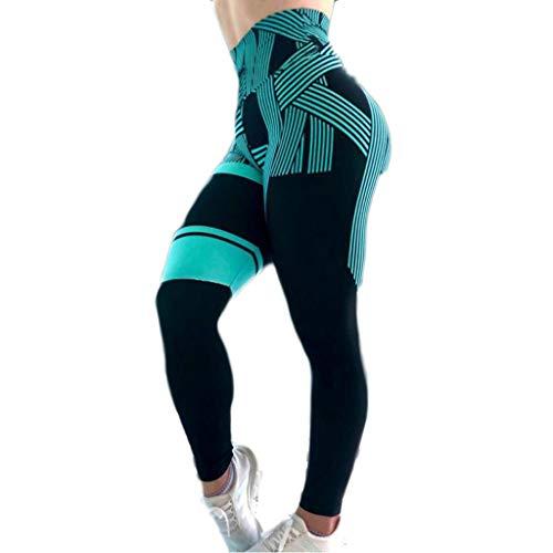 WOZOW Leggings sous-vêtement Stretch Taille Haute avec des Hanches Et Pantalons De Yoga Sport Femmes Pantalon Leggins Poches Fitness Gym(Bleu,L)