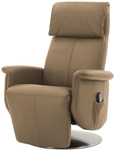 Mein Sillón Relax–850SL y sillón reclinable en Vaca Lede con Ajuste automático y función de Ayuda para levantarse, Beige