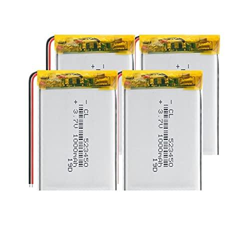 goubes 3.7v 1000mah 523450 BateríAs De Litio De PolíMero De Iones De Litio, Recargables Ampliamente Utilizadas para LáMpara Led Mp3 Mp4 4pieces