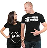 Silk Road Tees Couple Maternity T-Shirts Bump Dad and Mom Maternity Shirts New Baby Announcement Pregnancy T-Shirt Men Large - Women Medium Black