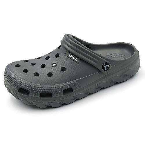 Amoji Garden Clogs Shoes Gardenning Shoes Sandals Shower Crocks Shoes Work Clog Summer Adult Male Female A1521 Grey 10 Women/8 Men
