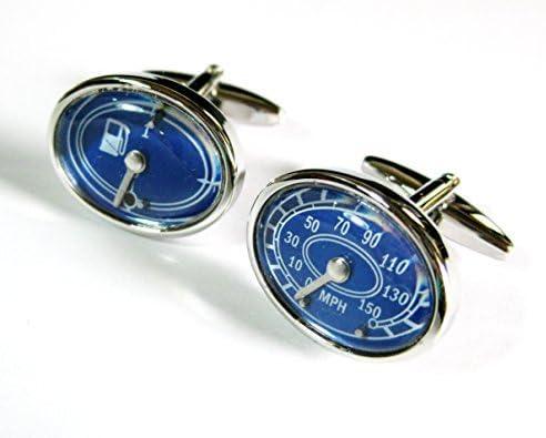 the5thL Blue Oval Car Gauges Cufflinks Automotive Cuff Links Speedometer Gemelos 021003-1