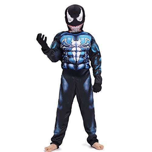 TOYSSKYR Venom Cosplay Muskel-elastische Körper-Strumpfhosen Spielkleidung Schwarz Spiderman Kinder Movie Show Kostüm Requisiten (Farbe : Blau, größe : L)