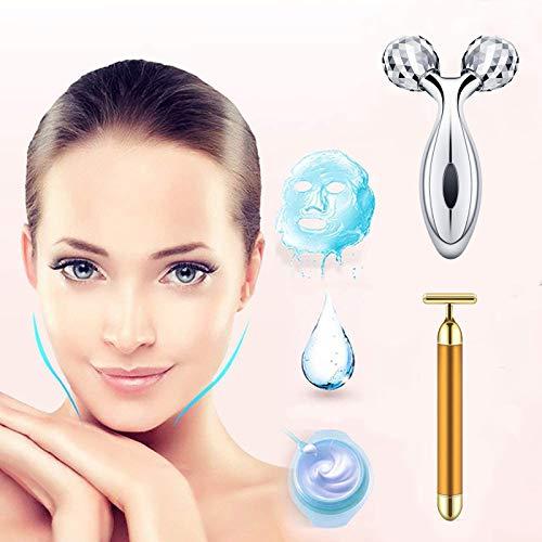 2 in 1 Gesichtsmassagegerät Walze 24k Facial Golden Pulse Elektrische 3D-Walze und T-förmiger Arm Augennasen Kopfmassagegerät Sofortiges Facelifting Anti-Falten Hautstraffende Gesichtsstraffung
