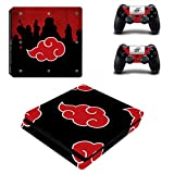 Decal Moments PS4 Slim Console Skin Set Vinyl Decal Sticker for Playstation 4 Slim Console 2 Controllers Akatsuki Red Cloud (PS4 Slim Only)
