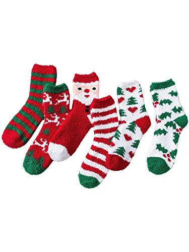 Christmas Fuzzy Socks Women Girls Warm Animal Cute Funny Soft Winter Fluffy Athletic Sock Christmas 6 pairs