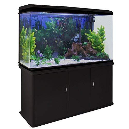 T-MECH Aquarium à Bords Noir MonsterShop avec Kits Gravier Blanc, Plantes et Accessoires de Démarrage, Meuble Noir, de 300 litres, Dimension 43,5 cm x 120,5 cm x 39 cm