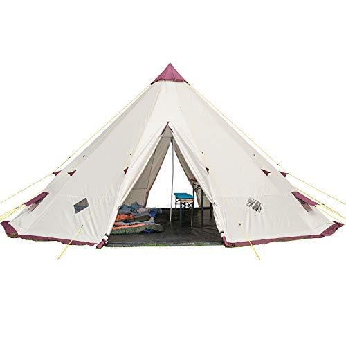 Skandika Tipii 301 - Tente tipi indien 12 personnes - Hauteur 3m Diamètre 5m50 - Beige-Bordeaux
