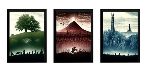 3 Quadros O Senhor Dos Anéis Arte Posters Moldurados