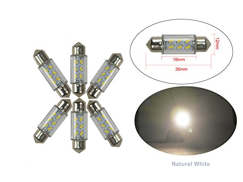 NJYTouch 6 X 36mm 6SMD 3014 211 Blanc Nature Festoon Dôme Carte Intérieur Ampoules LED