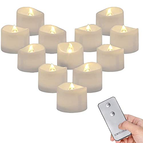 Binchil 12 Pack Remote Control Tea Lights Flickering, Long Lasting Battery Operated LED Candles for Home Decor Warm White Light