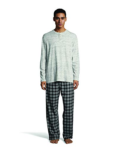 Hanes Men's L/S Henley Top with Flannel Pant Sleep Set, Oatmeal Gray Space dye, Large