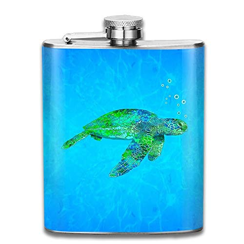 iuitt7rtree Sea Creatures Turtle Pocket Leak Proof Liquor Hip Flask Alcohol Flagon 304 Stainless Steel 7OZ Gift Box Outdoor