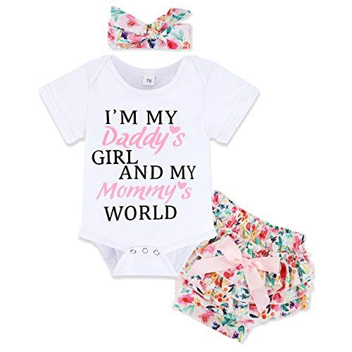 Ropa Bebe Niña Recién Nacido Niña Peleles Monos de Manga Corta + Floral Pantalones + Venda de Pelo,Verano Recién Nacido 0-18 Meses Bebé Ropa