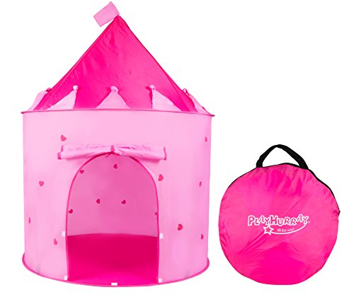 PlayHurray's pink Play Tent/House for kids boys/girls folds into a Carrying Case, This Pop Up Castle Tent is an excellent gift for children and perfect fun travel toy, Indoor & Outdoor Use