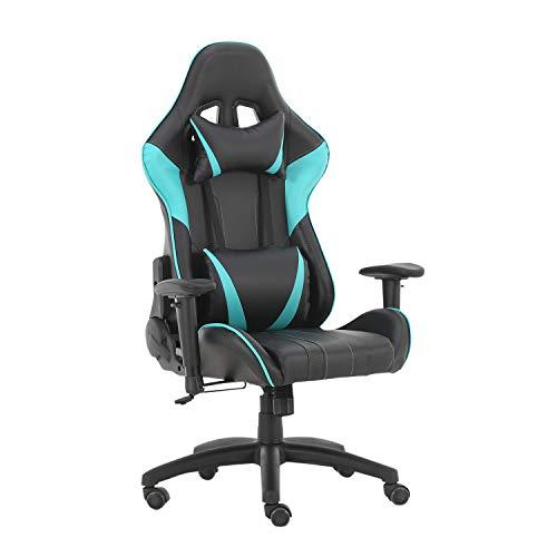 Perfect Future Furniture Silla de juego de carreras de oficina Silla de juego de ordenador con respaldo ergonómico y ajuste reclinable basculante giratorio con reposacabezas y silla de almohada lumbar
