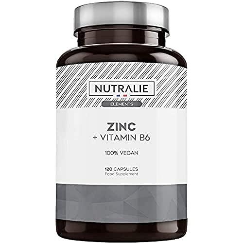Zinc Végétalien Pur Haute Dose | Antioxydant et contribue au Système Immunitaire Normal grâce au Citrate de Zinc et à la Vitamine B6 | 120 Gélules Végétaliennes Nutralie