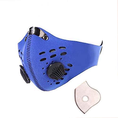 Máscara De Polvo, La Contaminación Atmosférica Máscara Anti Humo - Lavable Reutilizable Mascarilla, Máscara De Filtro Ajustable PM2.5 Aire, Válvula Respiratoria Máscara Boca Cubierta,Azul