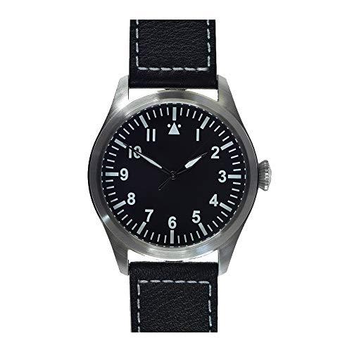 MWC Classic 46mm Limited Edition Xl Luftwaffe Pattern automático acero negro piel militar Aviador Pilot para hombre reloj