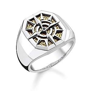 THOMAS SABO Unisex Ring Kompass Gold 925 Sterlingsilber, Geschwärzt, 750 Gelbgold Vergoldung TR2278-849-7