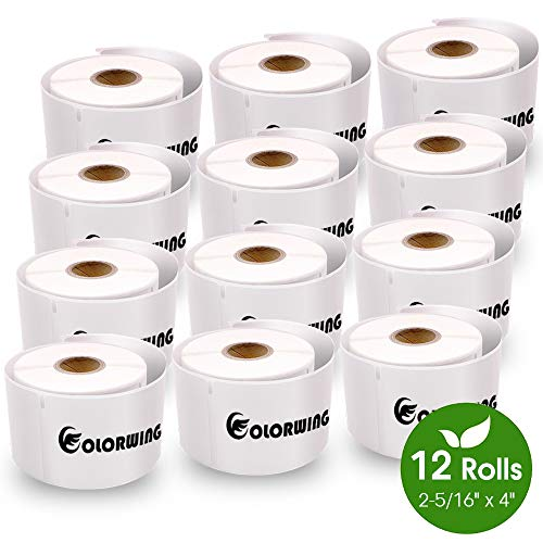 """COLORWING Compatible Shipping Labels Replacement for 2-5/16"""" x 4"""" Dymo Labels 30256 LW Large Shipping Labels 59 mm x 102 mm, White, for Dymo LabelWriter 450 Twin Turbo and Rollo Printers, 12 Roll"""