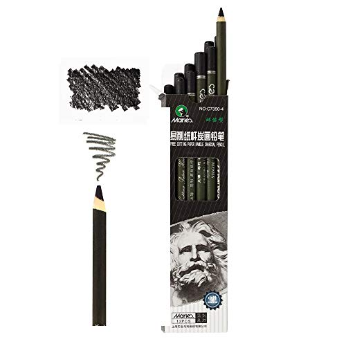 Marie's Artist Charcoal - Professional Quality, Paper Wrapped Drawing and Sketching Pencils with a Rich Black Color - Box of 12 Medium Grade
