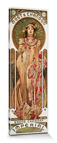 1art1 Alphonse Mucha Poster Reproduction sur Toile, Tendue sur Châssis - Moët Et Chandon, Grand Crémant Impérial, 1899 (150 x 50 cm)