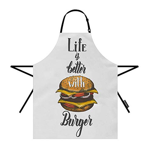 Moslion Hamburger Apron 31x27 Inch Food Quote Life is Better with Burger with Bread Cheese Kitchen Chef Waitress Cook Aprons Bib with Adjustable Neck for Women Men Girls