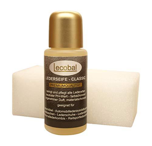 Lecobal Lederseife Classic - 50 ml - mit Schwamm - Lederwaschmittel - Lederreiniger