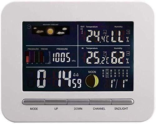 TEHWDE multifunctionele draadloze wekker met binnen-buitensensor thermometer temperatuur luchtvochtigheid barometer alarm maanfasenweergave
