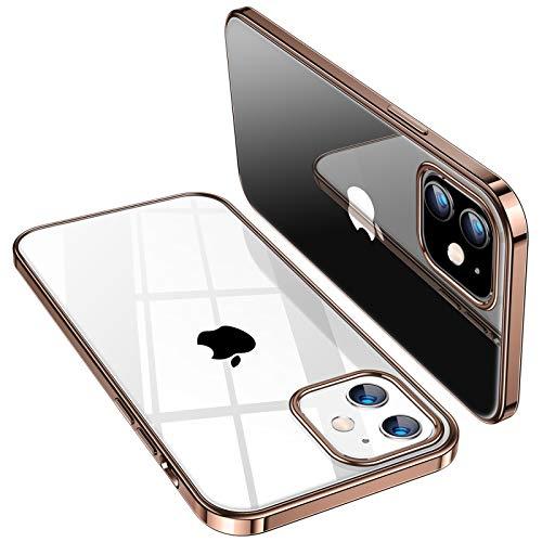 TORRAS für iPhone 12 Hülle/iPhone 12 Pro Hülle (Vergilbungsfrei) Ultra Klar Kratzfest Flexibles (Stoßfestigkeit Schutz) Dünn Handyhülle iPhone 12/12 Pro Crystal Series (Klassischer Stil) - Gold